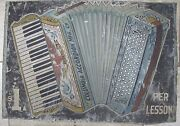 Columbia Accordian Mfg Co 1 Per Lesson Old Folk Art Double Sided Ad Sign