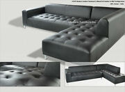 2 Pieces Set Modern Contemporary Black Leather Sectional Sofa + Chaise 1707