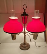 Vintage Brass Double Student Lamp With Red Cased Shades