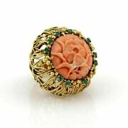 J. Auen 14k Yellow Gold Coral And Emerald Large Flower Ring