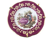 Limoges France Courting Couple W/ Stand Porcelain Miniature Plates 3.25andrdquo Dk. Red