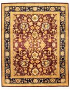 Vintage Geometric Hand-knotted Carpet 8and0390 X 10and0391 Traditional Wool Area Rug