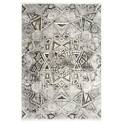 Mda Home Andros 5'x8' Medallion Transitional Fabric Area Rug In White/brown