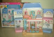 Fisher Price Dream Dollhouse Grand Dollhouse With Box Loving Family Blue Roof