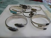 Lot Of Six Vintage Mexican Sterling Silver Bracelets