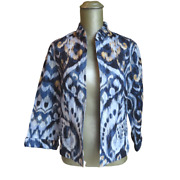 Womenand039s Chicoand039s Linen Blend Tan And Black Blazer Jacket Size 0