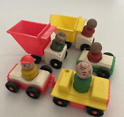 Vintage Little People Fisher Price 2 Dump Trucks Tow Truck 2 Cars 5 People Used