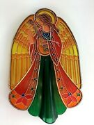 Vintage Hallmark Christmas Angel Tree Topper 1979 Acrylic Stained Glass Style In