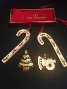 4 Wallace Silversmith Ornaments- 2 1995 Santa Candy Cane, Cookie Tree, Frch Horn