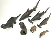 Lot Of 7 Vintage Dark Ironwood Carved Animals 3 Sharks Reptile Owl Bear Dolphin