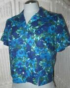 50and039s Vtg Bombshell Dark Floral Crop Blouse Glass Buttons Large Mod Retro