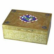 Vintage Antique Chinese Brass And Cloisonne Decorated Jewel Dresser Box