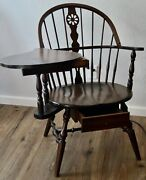 Vintage Hale Furniture Of Vermont Maple Windsor Right-hand Desk Chair W/ Drawers