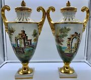Vintage Italy Urn Lid Vase Scenic Pair Gold Roccoco Handles Hand Painted Signed