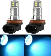 Led 20w H8 Icy 8000k Two Bulbs Fog Light Replacement Upgrade Stock Fit Halogen