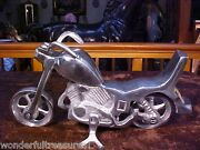1of Lst2 Fab Handmade Stainless Steel Silver Motorcycle Figurine Statue India