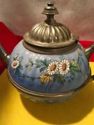 Antique Vintage 1800and039s Pewter Graniteware Enamel Teapot Coffee Pot Hand Painted