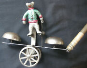 Vintage Bear Bell Pull Toy By Watrous, Later Called Gong Bell Mfg. Co.