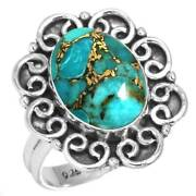 Copper Blue Turquoise Ring 925 Sterling Silver Handmade Jewelry Size 5 Bh48753