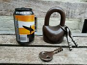 Antique Large Padlock With 3x Working Key Unique Made In Russia Over 1.5 Kg Pp-7