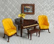 Renwal Piano + 2 Marx Wing Chairs Tin Dollhouse Furniture Plasticideal 116