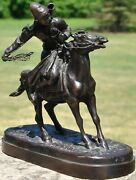 Bashkir On Horse Back With Lasso Russian Bronze By Yevgeny Lanceray Cowboy