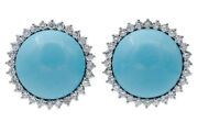 1.50ct Natural Round Diamond Turquoise 14k Solid White Gold Stud Earring