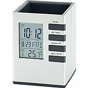 Multi-function Analogue Lcd Clock And Digital Calendar With Desk Pen Pencil Holder