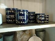 5 Rare Antique Cobalt French Pots Ironstone Canisters Beautiful