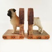 Pug Dog Bookends Figurine Statue Resin Glass Eyes Medieval Gothic Vintage Fawn