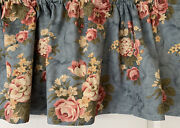 """French Country Cottage Chic Blue Floral Rose Window Curtain Valance 52x16"""" New"""