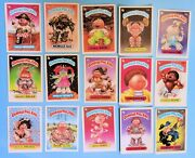 Vintage Garbage Pail Kids 15 Cards Lot-hairy Carrie-brett Sweat-rob Slob And More