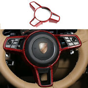For Porsche Macan 15-21 Red Dry Carbon Fiber Interior Cover Steering Wheel Trim