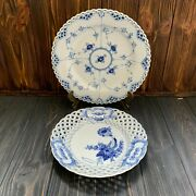 Royal Copenhagen Blue Fluted Full Lace 1/1084 Blue Flower Curved 10/1637 Plate
