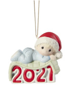 Precious Moments 211006 Baby's 1st Christmas 2021 Dated Boy Ornament 2021 New