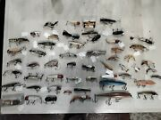 Vintage Wooden Fishing Lure Lot Of 56 Various Sizes And Colors, Look