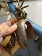 Original Antique Iron Spur With 8 Point Rowels 3 1/2 Inches Carving