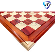 21 Big Chess Board Bud Rosewood Carved Corners Of Maplewood 55mm Sq. Luxury