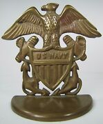 Us Navy Old Brass Spread Winged Eagle Shield Anchors Figural Doorstop Bookend