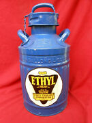 Vintage Restored Ellisco Fluted Can 5gal Ethyl Gas Co 1920and039s Gas Oil Station