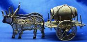Vintage Portuguese Solid Silver Filigree Miniature Twin Oxen Cart With Barrell