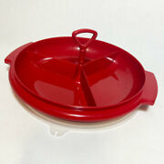 Red Tupperware Lazy Suzette Snack Candy Relish Tray 608 With Handle And Lid