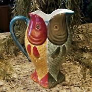 New Ceramic Dept 56 Hand Painted Double Fish Serving Pitcher 11.5