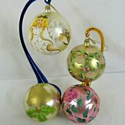 Christmas Ornaments Italy Glass Hand Painted Lot Of 4 Large Bells Holly Floral