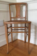 Antique Primitive Wood Farmhouse Kitchen/side/task Chair W/tooled Leather Seat