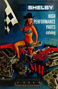 Carroll Shelby High Performance Parts Catalog With Blonde Pin Up Metal Sign