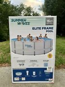 Summer Waves 16ft Elite Frame Pool And Filter Pump, Cover, And Ladder. Free Shipping