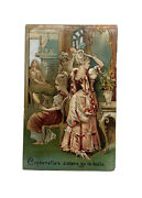 """Rare 1800s Trade Card Die Cut """"cinderella's Sisters Go To Balls"""" Uncle Sam's Tar"""