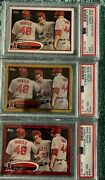 Mike Trout Topps 2012 Rookie Year Lot3 Red Gold Sparkle Refractor Base Psa 9and8