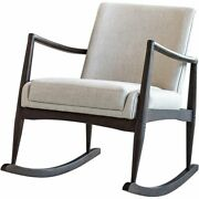 Coaster Mid-century Modern Upholstered Rocking Chair In Beige And Walnut